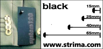 120 PPS BLACK 065 - Tagging pins 65mm, standard, black, box 12.000 pcs