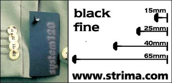 120 PPF BLACK 015 - Tagging pins 15 mm fine, black, box 12.000 pcs