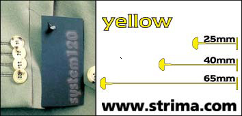 120 PPS YELLOW 025 - Tagging pins 25 mm standard, yellow, box 12.000 pcs