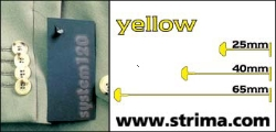 Tagging pins 65 mm standard, yellow, box 12.000 pcs