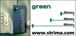 Tagging pins 25 mm standard, green, box 12.000 pcs