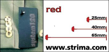 120 PPS RED 065 - Tagging pins 65 mm standard, red, box 12.000 pcs