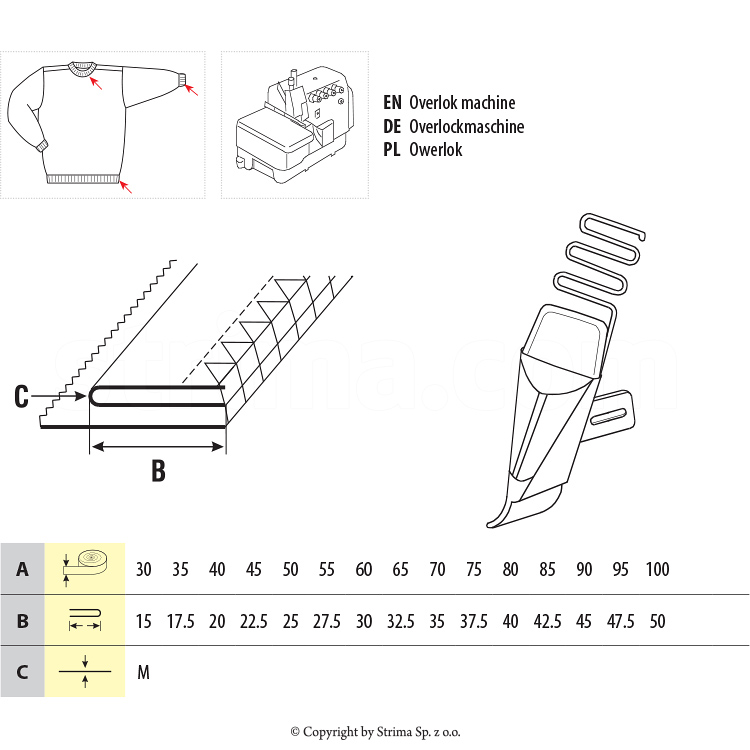 UMA-22-JU 60/30 M - Collar and cuff rib attachment