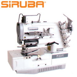 SIRUBA 3-needle top/bottom coverstitch machine with elastic inserting and binding device - sewing machine - head only