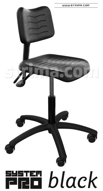 SYSTEM PRO BLACK chair with wheels for soft floors