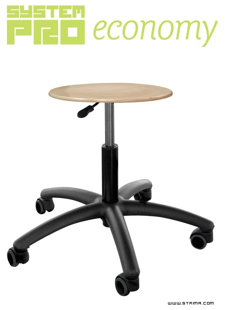 SYSTEM PRO ECONOMY Eco2 - Industrial stool on wheels - plywood