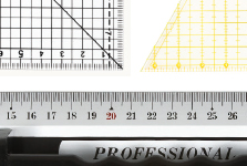 measuring tapes, gauges, French curves
